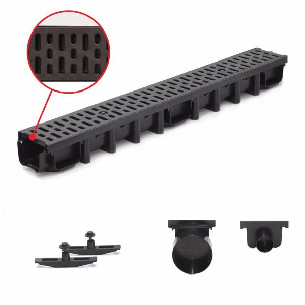 1m Entwässerungsrinne für modulares System A15 98mm, komplett Stegrost Kunststoff, Schwarz Classic