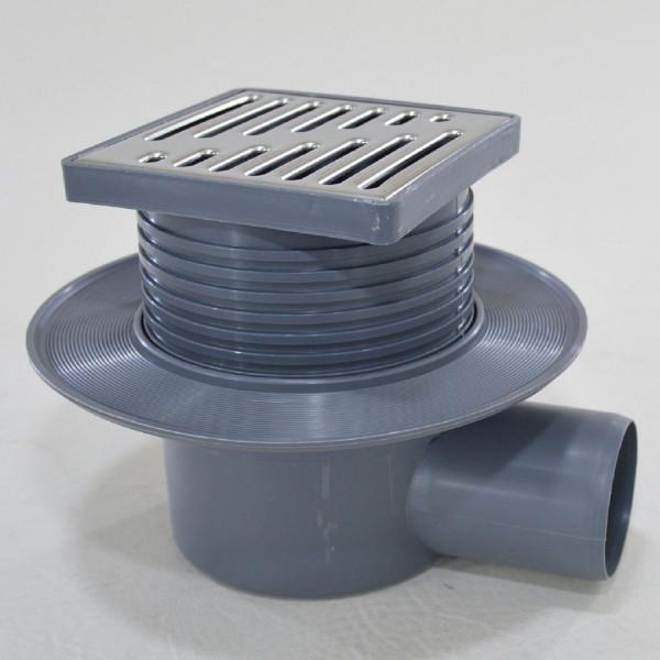 Bodenablauf Duschablauf DN50 Rost Edelstahl höhenverstellber Badablauf waagerecht