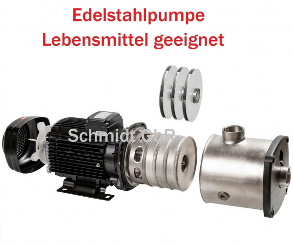 Hochwertige Edelstahl Industrie Förderpumpe Gartenpumpe 1,3kW 125L/min 5,9 bar