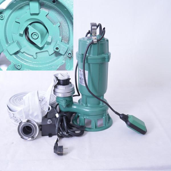 Profi Schmutzwasserpumpe Fäkalienpumpe m. Cutter/ Schneidmesser 0,75kW 300L/min + 20m C-Schlauch