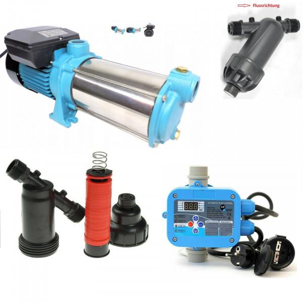 Kreiselpumpe Gartenpumpe MHI 1500 INOX 1500 Watt 5700 L/h - 8 bar Hauswasserwerk + PC-58 + Vorfilter