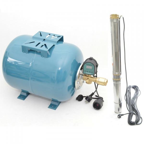 Hauswasserwerk 100L Tiefbrunnenpumpe 8,2bar Pumpensteuerung + Trockenlaufschutz