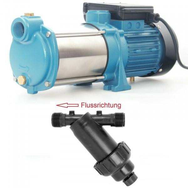 """Gartenpumpe Kreiselpumpe 1300W 6000 L/h 5,5 bar + 5"""" Vorfilter Wasserfilter"""