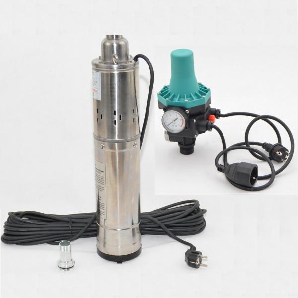 Tiefbrunnenpumpe 2400l/h 0,55kW 7,5bar 102mm Rohrpumpe Brunnenpumpe + PC-13