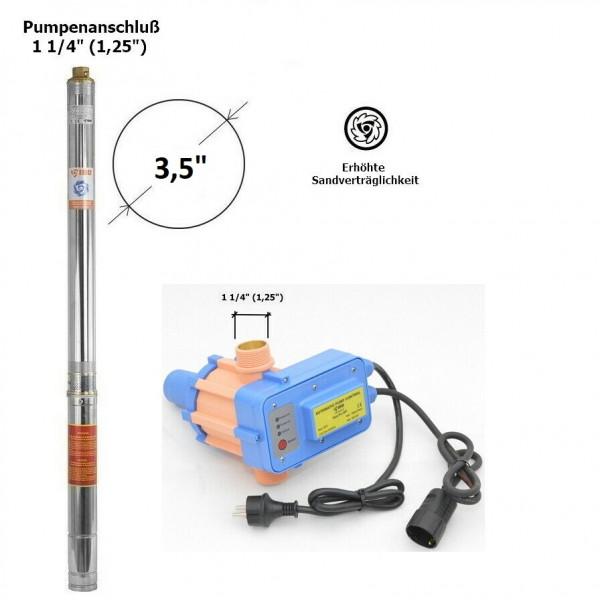 """Tiefbrunnenpumpe Brunnenpumpe 3,5"""" 4200 l/h 0,75kW 7,3b sandverträglich + PC20-P"""