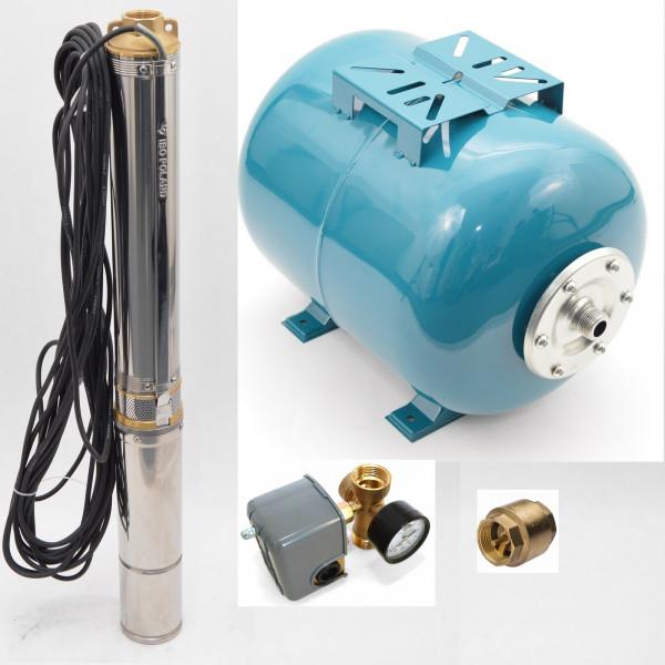100 L Hauswasserwerk Hauswasserautomat Tiefbrunnenpumpe 8,4 bar 4500 l/h 0,75kW
