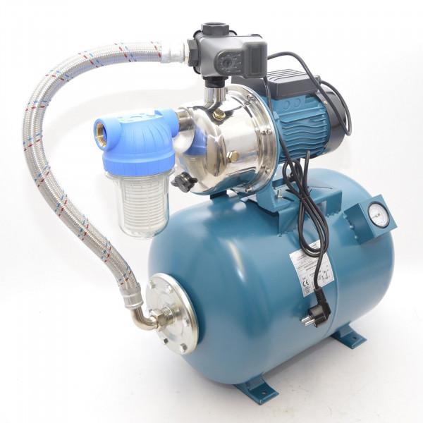 50L Hauswasserwerk Hauswasserautomat Vorfilter Luftdruckmanometer Gartenpumpe 1,1kW 5bar