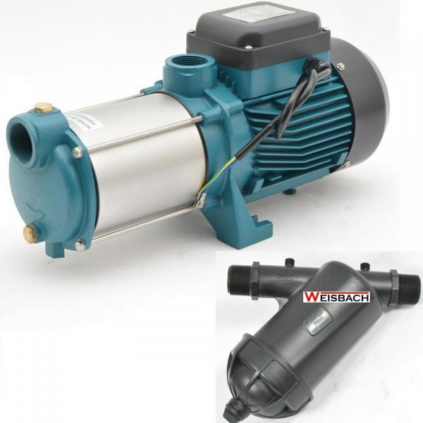 Gartenpumpe Wasserpumpe 2200 Watt/400V INOX 10800 L/h 6 bar + Vorfilter