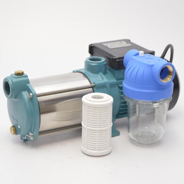 """Gartenpumpe Kreiselpumpe 1300W INOX 6000 L/h 5,5 bar + 5"""" Vorfilter Wasserfilter"""