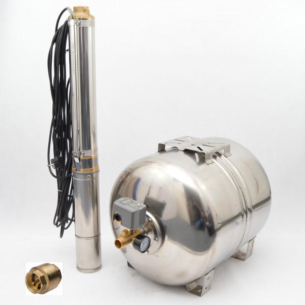 100 L Edelstahl Hauswasserwerk Hauswasserautomat Tiefbrunnenpumpe 8,4 bar 4500 l/h 0,75kW