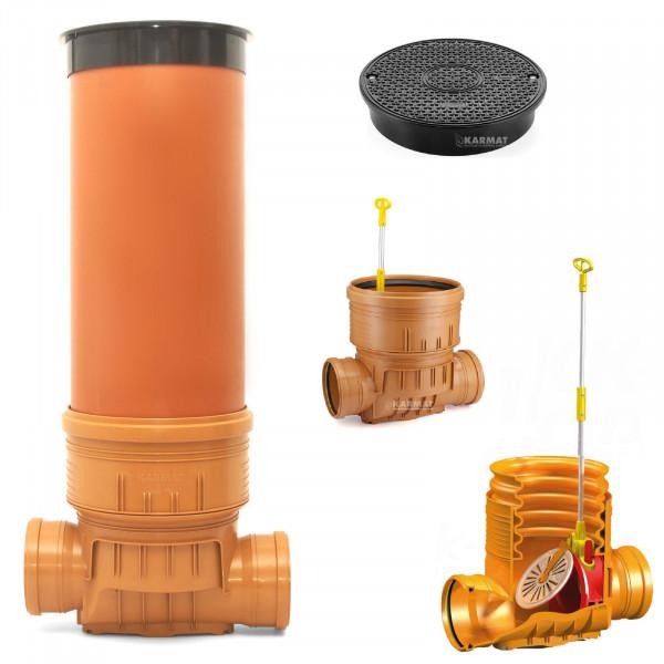 Kontrollschacht Revisionsschacht DN400 Rückstauklappe 2x Ø160 mm Abwasserschacht