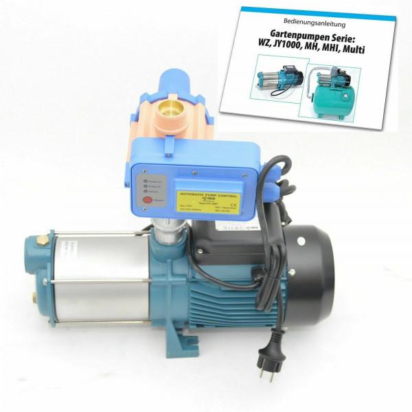 Gartenpumpe Bewässerunng MH2200 INOX - 2,2kW - 230V - 10800 L/h - 6bar - 180l/min + PC-20P