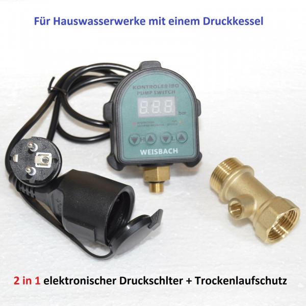 2 in 1 Elektronischer Druckschalter + Trockenlaufschutz für Hauswasserwerk inkl. 3-wege Verteiler