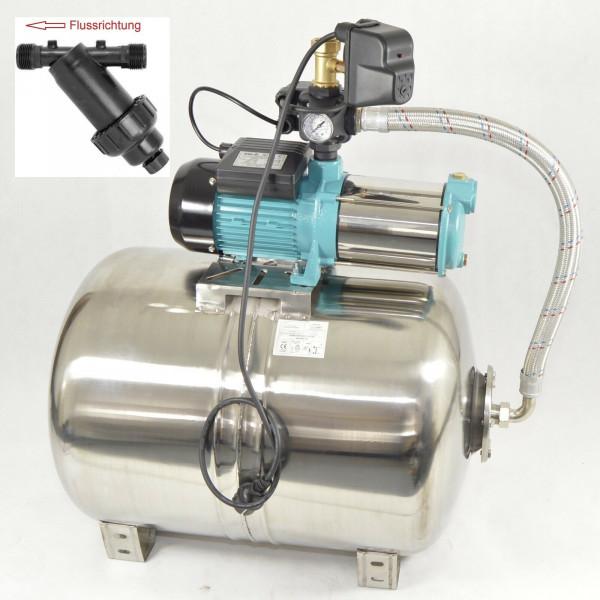 100L Edelstahl Hauswasserwerk 1300W 5,5bar 6000L/h Trockenlaufschutz Vorfilter