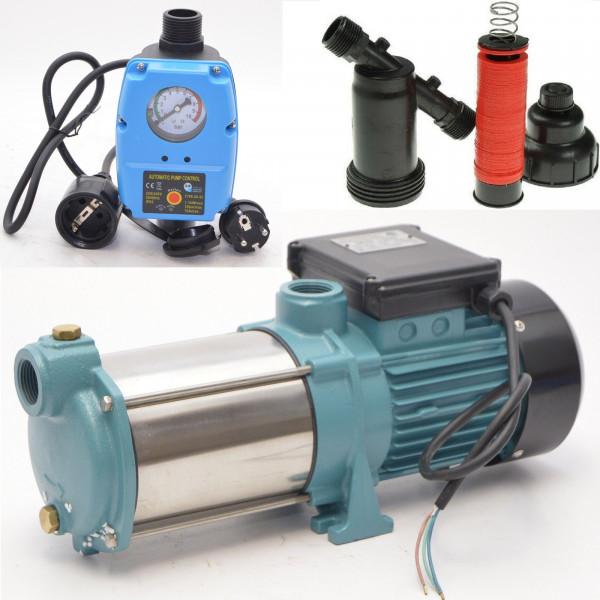 Gartenpumpe Kreiselpumpe 1300W 6000 L/h 5,5 bar + Vorfilter + Pumpensteuerung