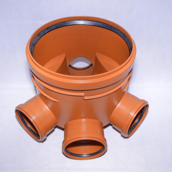 Abwasserschacht KG Schachtboden DN400 3 x Zulauf DN160 - 1 x Ablauf DN160