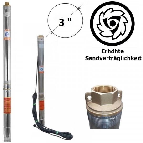 """LEISTUNGSSTARKE 3"""" Tiefbrunnenpumpe 100l/min - 6000l/h bis 5% Sandverträglich"""