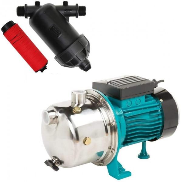 """Kreiselpumpe Gartenpumpe 1100 Watt 3600 L/h 5 bar + 5"""" Vorfilter Wasserfilter"""