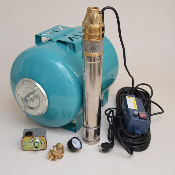 """Hauswasserwerk 50L 3"""" Tiefbrunnenpumpe 0,75kW 2400l/h 6 bar Hauswasserautomat"""