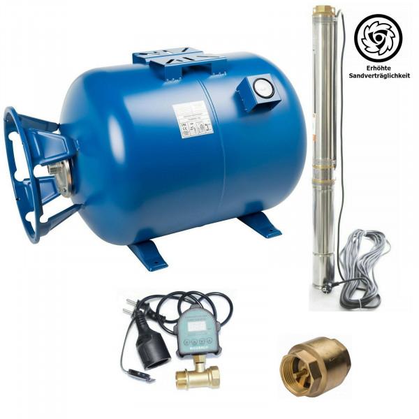 Hauswasserwerk 100L Tiefbrunnenpumpe 7,4bar Pumpensteuerung + Trockenlaufschutz