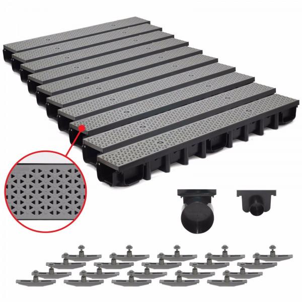 10 m Entwässerungsrinne für modulares System A15 98mm, komplett SET Grau Decor
