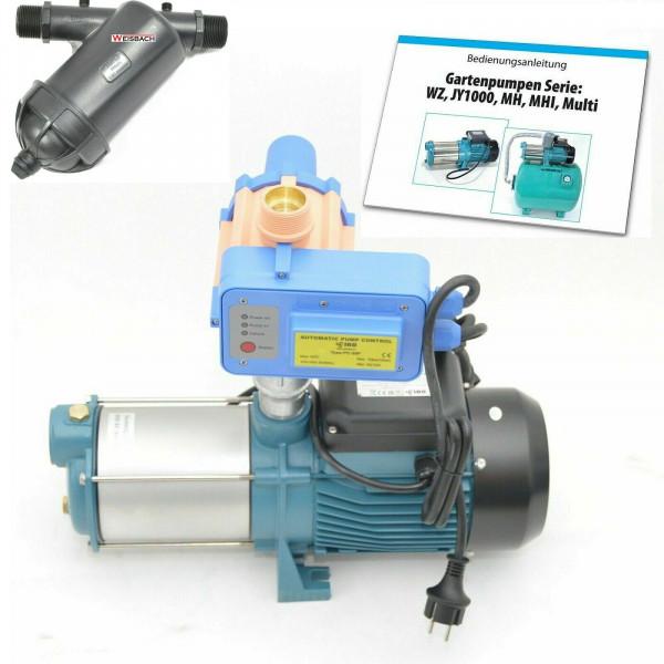 Gartenpumpe MH3000 INOX - 3kW - 230V - 11400 L/h - 7bar - 190l/min + PC-20P + Vorfilter