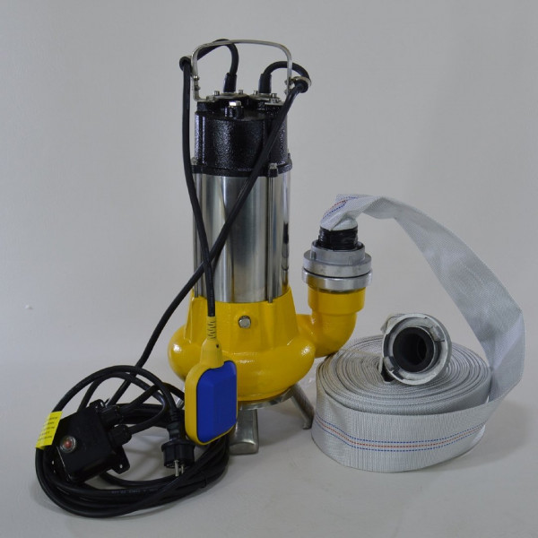 Fäkalienpumpe Tauchpumpe Schmutzwasserpumpe 1,1kW freier Durchlauf bis 35mm + Schlauch