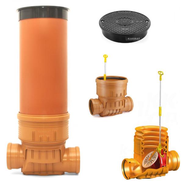 Kontrollschacht Revisionsschacht DN400 Rückstauklappe 2 x Ø160 mm Abwasserschach