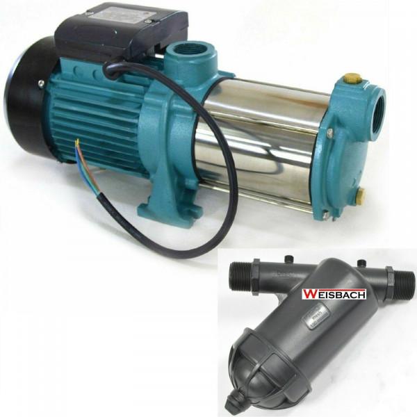 Gartenpumpe 1800 Watt INOX 9000 L/h 5bar Hauswasserwerk Kreiselpumpe + Vorfilter
