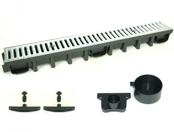 Entwässerungsrinne A15 SET Stegrost Stahl verzinkt 3 m inkl. Zubehör