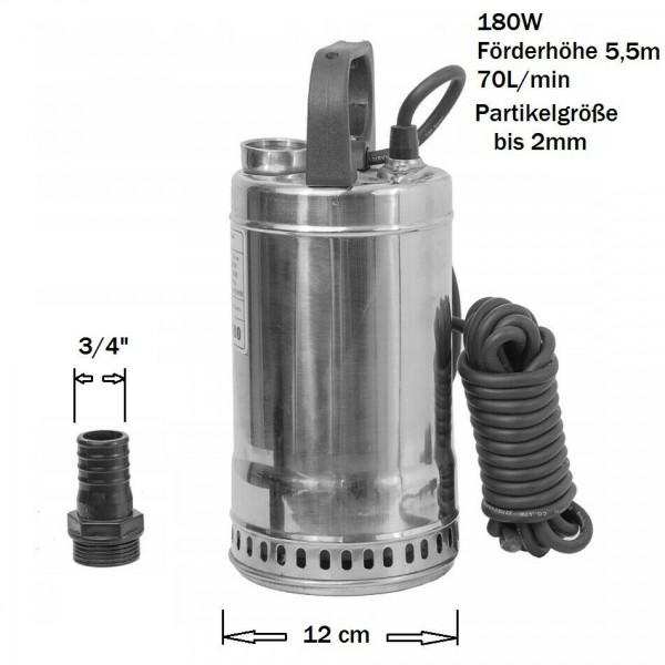 Edelstahl Tauchpumpe Brunnenpumpe Schwimmbadpumpe 180W - 70L/min Förderhöhe 5,5m