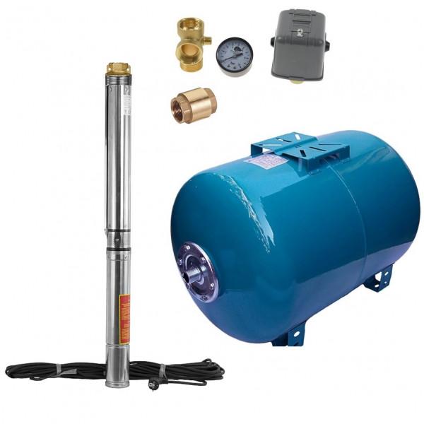 100 L Hauswasserwerk Hauswasserautomat Tiefbrunnenpumpe 9bar 6300l/h Sandresistent bis 5%