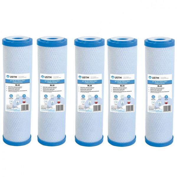 "10"" Wasserfilter Filterkartusche 5-x-10-034-Wasserfilter-Carbon-Block-Kohlefilter"