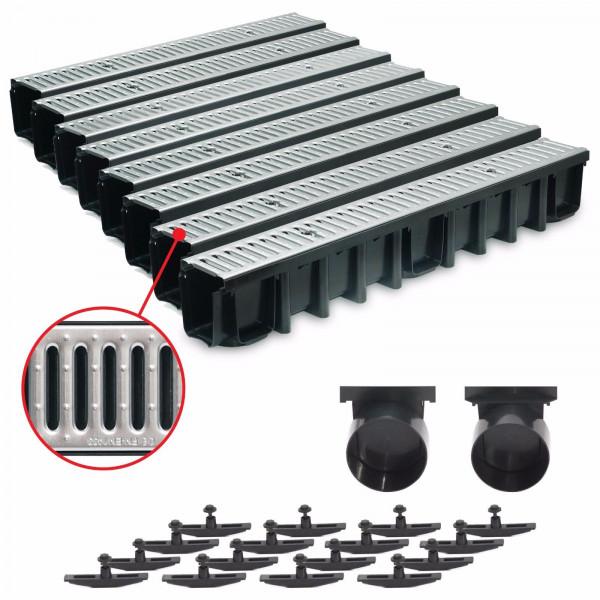 8m Entwässerungsrinne für modulares System A15 148mm, komplett Stahl verzinkt