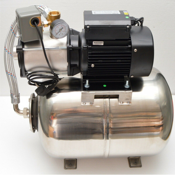 Hochwertiges Edelstahl Hauswasserwerk Hauswasserautomat 50L 6,7 bar 5100L/h 1kW