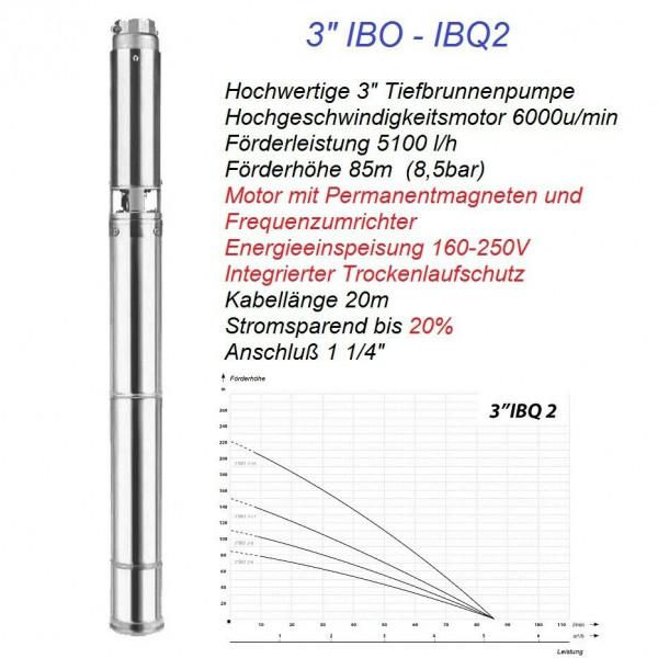 """Hochwertige 3"""" Hochleistungs Tiefbrunnenpumpe 8,5bar 5100L/h + Frequenzumrichter"""