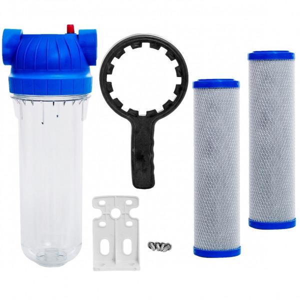 """10"""" Filtergehäuse Wasserfilter 2x Aktivkohlefilter 1"""" IG Brunnen Wasser Filter"""