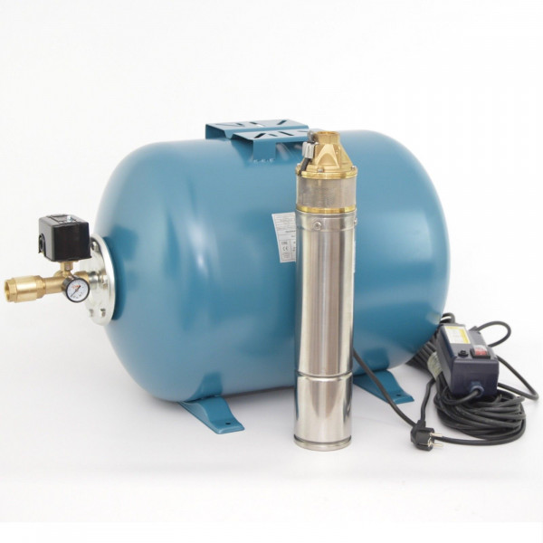 """Hauswasserwerk 100L mit 4"""" Tiefbrunnenpumpe 0,75kW 6 bar Hauswasserautomat"""