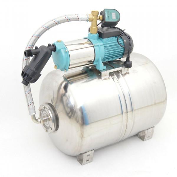 Edelstahl 100L Hauswasserwerk 6000L/h 1,3kW INOX 5,5bar Digitaler Trockenlaufschutz + Vorfilter
