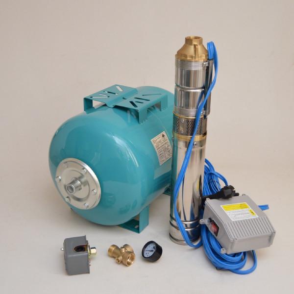 """Hauswasserwerk 50L mit 4"""" Tiefbrunnenpumpe 0,55kW 8,5 bar Hauswasserautomat"""