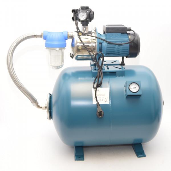 100L Hauswasserwerk Hauswasserautomat Vorfilter Luftdruckmanometer Gartenpumpe 1,3kW