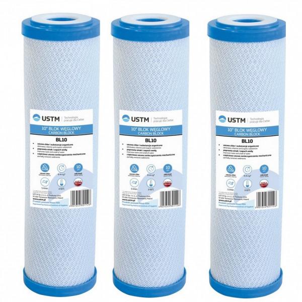 """3 x 10"""" Wasserfilter Vorfilter Kohlefilter Aktivkohleblock Kalk Chlor Osmose"""